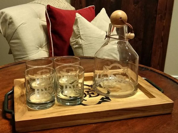 Etched Firefighter Whiskey Glasses