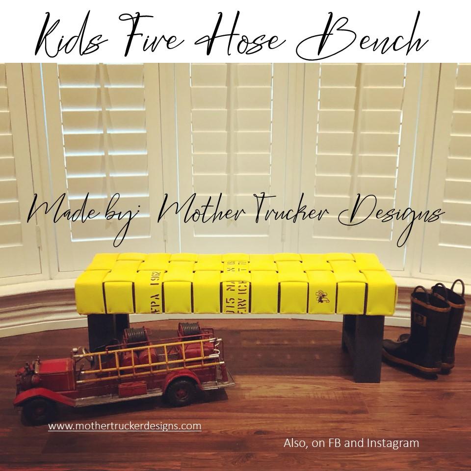 Kids Fire Hose Bench – Firefighter Decor